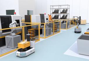 AGV無人搬送車、大型産業ロボットが備えるスマート工場のコンセプトイメージの写真素材 [FYI04645774]