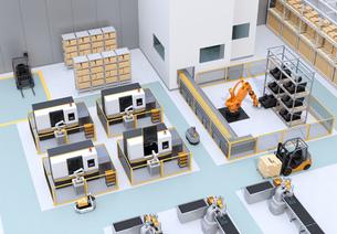 協働型双腕ロボット、AGV無人搬送車、マシニングセンタ、自動運転フォークリフトがあるスマート工場の写真素材 [FYI04645777]