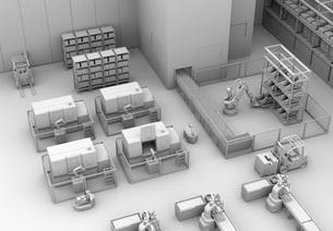 AGV無人搬送車、マシニングセンタがあるスマート工場のクレイレンダリングイメージの写真素材 [FYI04645778]