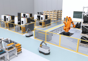 協働型双腕ロボット、AGV無人搬送車、マシニングセンタ、自動運転フォークリフトがあるスマート工場の写真素材 [FYI04645779]