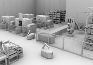 AGV無人搬送車、マシニングセンタがあるスマート工場のクレイレンダリングイメージの写真素材 [FYI04645780]