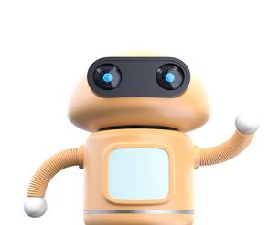 モニターが付いている黄色のロボットが手を振るイメージの写真素材 [FYI04645796]