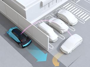 見通しの悪い道路に走行する車が駐車場から出る車を探知し、事故を回避する。先進運転システムコンセプトの写真素材 [FYI04645830]
