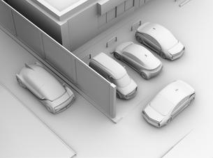 見通しの悪い道路に走行する車が駐車場から出る車と出会い頭事故を合いそうなクレイレンダリングイメージの写真素材 [FYI04645831]