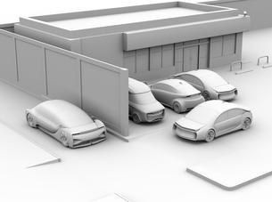 見通しの悪い道路に走行する車が駐車場から出る車と出会い頭事故を合いそうなクレイレンダリングイメージの写真素材 [FYI04645832]