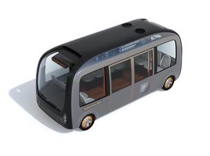 白バックに自動運転バスのイメージの写真素材 [FYI04645835]