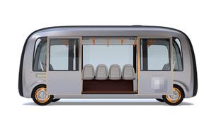 白バックに自動運転バスのイメージの写真素材 [FYI04645836]
