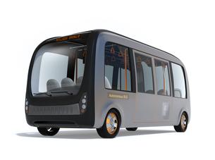 白バックに自動運転バスのイメージの写真素材 [FYI04645837]