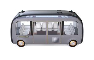 白バックに自動運転バスの側面イメージ。オリジナルデザインの写真素材 [FYI04645843]