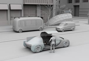 スマホでライドシェアを予約した男性が乗車するクレイレンダリングイメージの写真素材 [FYI04645848]