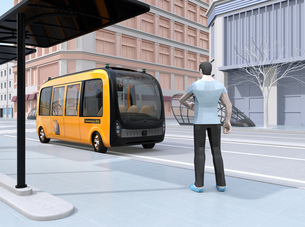 スマホでライドシェアをリクエストして迎えに来た自動運転バスのイメージの写真素材 [FYI04645853]
