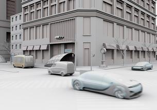 交差点を通過する自動運転車のクレイレンダリングイメージの写真素材 [FYI04645857]