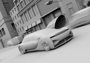 交差点を通過する自動運転セダンのクレイレンダリングイメージの写真素材 [FYI04645862]