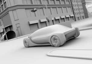 交差点を通過する自動運転セダンのクレイレンダリングイメージの写真素材 [FYI04645864]