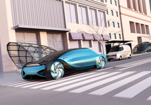 一般道に走行中の自動運転セダンと宅配車のイメージ。ライドシェアコンセプトの写真素材 [FYI04645865]