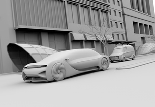 一般道に走行中の自動運転セダンと宅配車のクレイレンダリングイメージの写真素材 [FYI04645866]