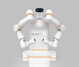 双腕ロボットの正面イメージ。協働ロボットのコンセプト。オリジナルデザインの写真素材 [FYI04645868]
