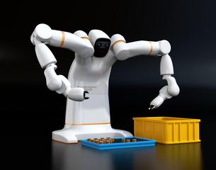 黒バックに多関節双腕ロボットのイメージ。協働ロボットのコンセプトの写真素材 [FYI04645870]