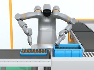 モータコイルを組み立てている双腕ロボットの正面イメージ。協働ロボットのコンセプトの写真素材 [FYI04645871]