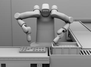 7軸多関節双腕ロボットのクレイレンダリングイメージ。協働ロボットのコンセプトの写真素材 [FYI04645873]