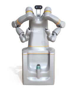 白バックに7軸多関節双腕ロボットのイメージ。協働ロボットのコンセプトの写真素材 [FYI04645874]