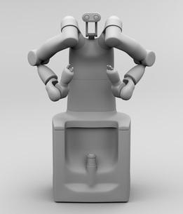 7軸多関節双腕ロボットのクレイレンダリングイメージ。協働ロボットのコンセプトの写真素材 [FYI04645875]