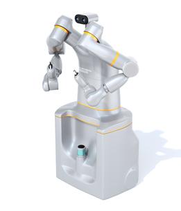 白バックに7軸多関節双腕ロボットのイメージ。協働ロボットのコンセプトの写真素材 [FYI04645876]