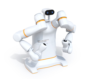 双腕ロボットのイメージ。協働ロボットのコンセプト。オリジナルデザインの写真素材 [FYI04645879]