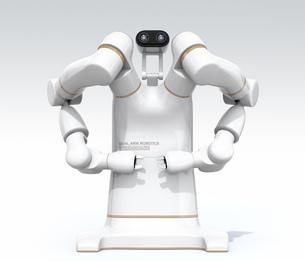 双腕ロボットの正面イメージ。協働ロボットのコンセプト。オリジナルデザインの写真素材 [FYI04645881]