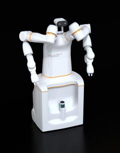 黒バックにある双腕ロボットのイメージ。協働ロボットのコンセプトの写真素材 [FYI04645882]