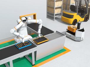 協働型双腕ロボットが生産ラインにモータコイルを組み立てている。協働ロボットのコンセプトの写真素材 [FYI04645887]