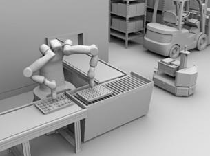 7軸多関節双腕ロボットのクレイレンダリングイメージ。協働ロボットのコンセプトの写真素材 [FYI04645888]