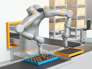 協働型双腕ロボットが生産ラインにモータコイルを組み立てている。協働ロボットのコンセプトの写真素材 [FYI04645893]