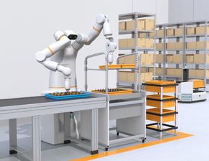 基板を組み立てている双腕ロボットのイメージ。協働ロボットのコンセプトの写真素材 [FYI04645908]