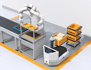 基板を組み立てている双腕ロボットのイメージ。協働ロボットのコンセプトの写真素材 [FYI04645909]