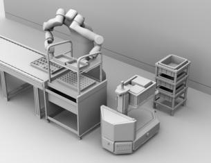 モータを組み立てている双腕ロボットのクレイレンダリングイメージ。協働ロボットのコンセプトの写真素材 [FYI04645910]
