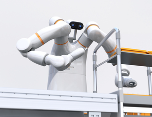 基板を組み立てている双腕ロボットのイメージ。協働ロボットのコンセプトの写真素材 [FYI04645911]