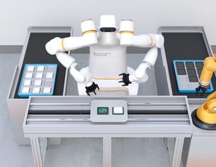 基板を組み立てている双腕ロボットと部品補給ロボットアームのイメージ。協働ロボットのコンセプトの写真素材 [FYI04645912]
