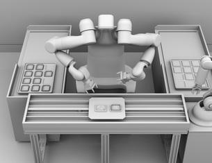 基板を組み立てている双腕ロボットのクレイレンダリングイメージ。協働ロボットのコンセプトの写真素材 [FYI04645913]