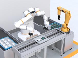 基板を組み立てている双腕ロボットと部品補給ロボットアームのイメージ。協働ロボットのコンセプトの写真素材 [FYI04645914]