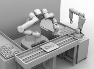 基板を組み立てている双腕ロボットのクレイレンダリングイメージ。協働ロボットのコンセプトの写真素材 [FYI04645915]