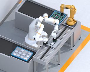 基板を組み立てている双腕ロボットと部品補給ロボットアームのイメージ。協働ロボットのコンセプトの写真素材 [FYI04645916]