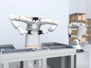 基板を組み立てている双腕ロボットと部品補給ロボットアームのイメージ。協働ロボットのコンセプトの写真素材 [FYI04645917]