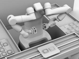 基板を組み立てている双腕ロボットのクレイレンダリングイメージの写真素材 [FYI04645918]