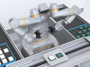 基板を組み立てている双腕ロボットのイメージ。協働ロボットのコンセプトの写真素材 [FYI04645919]