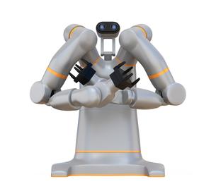 白バックに双腕ロボットのイメージ。協働ロボットのコンセプト。の写真素材 [FYI04645920]