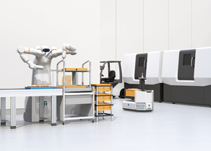 協働型双腕ロボット、AGV無人搬送車、マシニングセンタ、自動運転フォークリフトがあるスマート工場の写真素材 [FYI04645921]