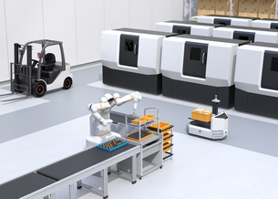 協働型双腕ロボット、AGV無人搬送車、マシニングセンタ、自動運転フォークリフトがあるスマート工場の写真素材 [FYI04645922]