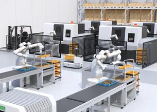 協働型双腕ロボット、AGV無人搬送車、マシニングセンタ、自動運転フォークリフトがあるスマート工場の写真素材 [FYI04645923]