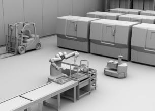 7軸多関節双腕ロボットのクレイレンダリングイメージ。協働ロボットのコンセプトの写真素材 [FYI04645924]